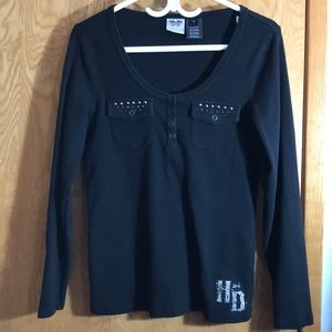 Harley Davidson 1/4 Snap Button Long Sleeved Tee